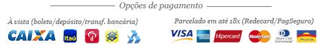 Aceitamos pagamentos no Boleto, PagSeguro (cartões de crédito), RedeCard e Depósito/Transferência Bancária.